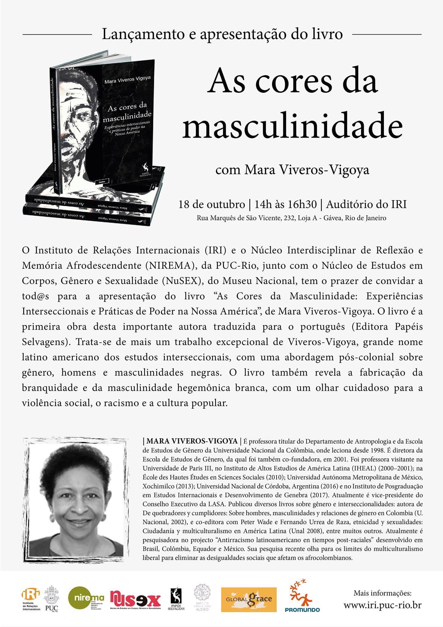 """Lançamento do Livro """"As Cores da Masculinidade"""", de Mara Viveros-Vigoya"""