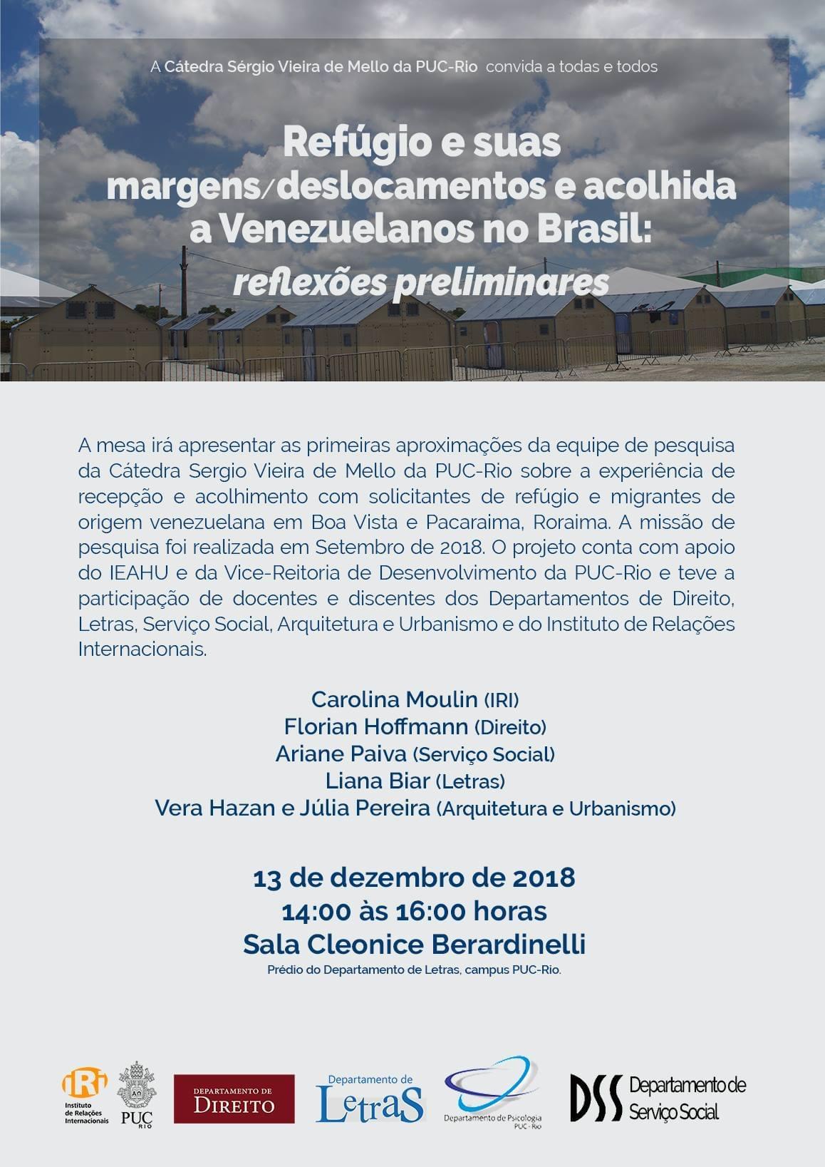 Refúgio e suas margens/deslocamentos e acolhida a Venezuelanos no Brasil: reflexões preliminares