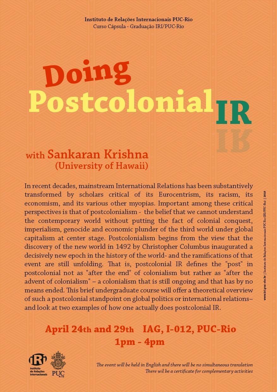 Doing Post-Colonial IR | Curso Cápsula com Sankaran Krishna