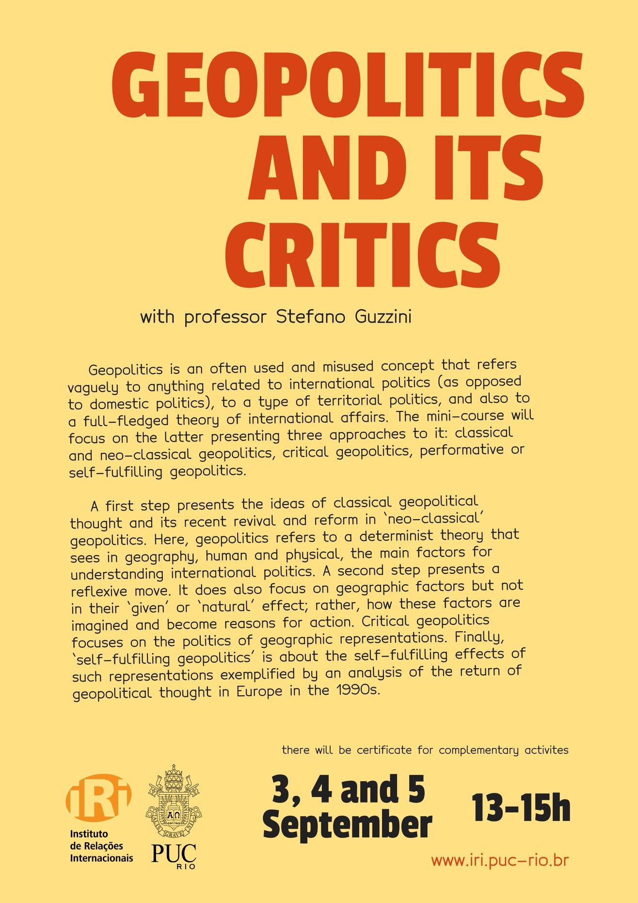 Geopolitics and its Critics